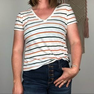 MADEWELL striped short sleeve crop tee size small
